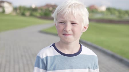 szeplők : Cute boy blond walks in the park in the summer. Close-up of a blond child with freckles. A boy walks in a golf club