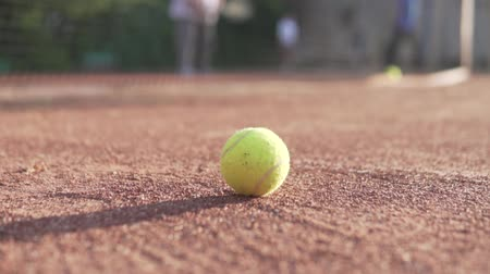 teniszütő : Tennis ball rolls on a clay tennis court. He instantly rolls to the grid and stops, in the background there are blurry players with rackets Stock mozgókép