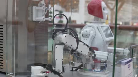 from behind : A robot makes ice cream in a mall. The robot takes a bowl and pours ice cream into it.