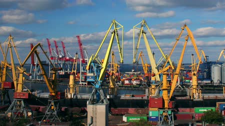 truck crane : Odessa sea trading port activity timelapse. Pan from left to right. (Full HD)