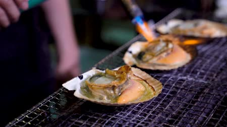 scallop : delicious seafood on the grill burned by a torch burner and heated to bubbling and juicy amazingly.