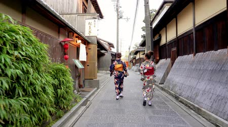 traje de passeio : Kyoto, JAPAN - APRIL 18, 2018: female tourists experience Japanese culture, wearing kimono and walking in alley surrounding Japanese traditional building