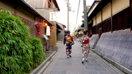 traje de passeio : Kyoto, JAPAN - APRIL 18, 2018: Japanese young lady wearing kimono walking in the alley and chatting with each other