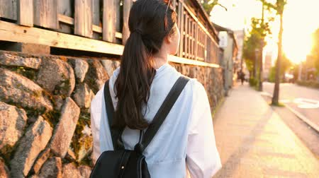 na : Japanese lady on the way to home and seeing the amazing sunset