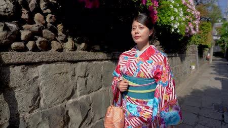 tokio : Japanese lady with traditional dress relaxing walking near stone wall under shadow on sunny day. young girl first time wearing ladies kimono in Kyoto japan on old town street with green garden spring