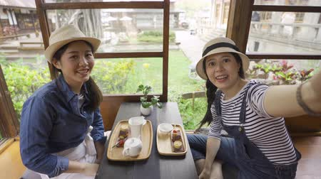 korejština : Beautiful asian women tourists having video chat using smartphone indoors sharing japanese tea ceremony to friends on phone call. young girls waving hands face camera. travel in kyoto japan lifestyle Dostupné videozáznamy