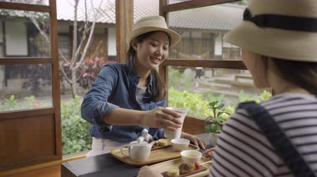 bule : young girl college student travel tokyo japan in summer vacation. two asian women doing chado ceremony. female help friend pour tea into bowl on wooden table by green spring garden talking shocked. Vídeos