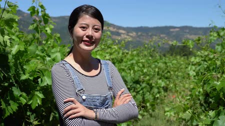 éretlen : proud young asian woman farmer standing with folded arms in vineyard background. young satisfied female winemaker looking face at camera smiling crossed hands. confident owner of farm outdoor