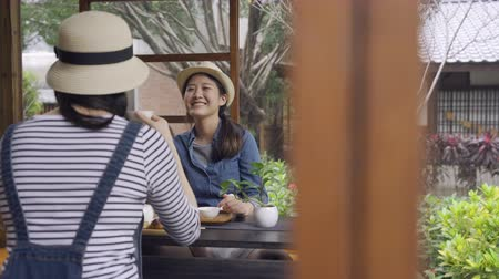pletyka : two happy asian women friends eating desserts together indoor wood house by japanese style spring teien garden. young girls toursit talking drinking tea doing chado ceremony chatting laughing relax
