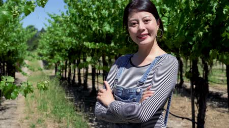 nezralý : confident asian woman winemaker with unripe green grape in vineyard. japanese female farmer owner of farm in wineries crossed arms face camera smiling standing in forest europe napa. outdoor blue sky