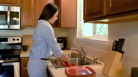 pokojowka : side view young asian woman washing dishes in kitchen sink in wooden country home in america.