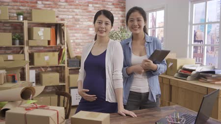 Pregnant adult businesswoman with female colleague standing in workplace modern office.