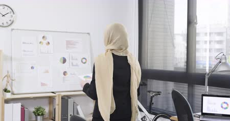doubt : Creative female islam worker walking standing near whiteboard with ideas in office. Stock Footage