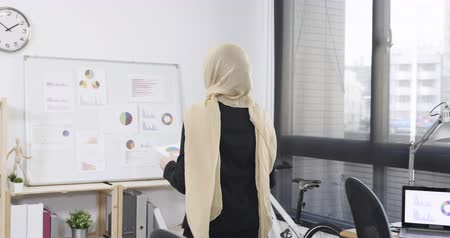 slow motion young malay female employee stand up walk close white board in back