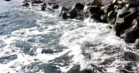 Foaming and splashing background of sea waves near a rocky shore in sunny weather Wideo