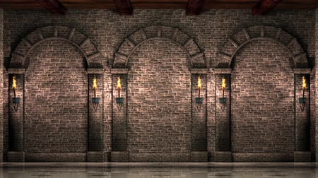 средневековый : Wall with arches Стоковые видеозаписи