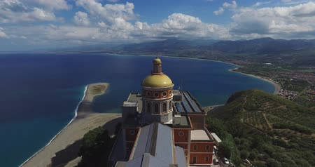 antika : Aerial shot of the beautiful antique church on with bay on the background