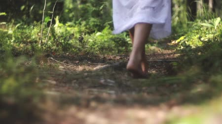 dirt : Slow motion shot of a young female legs walking on the trail in the forest Stock Footage