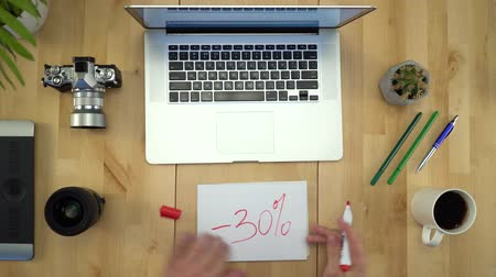 tables : Man Hands Working On Computer At Workplace Flat Lay Closeup Stock Footage