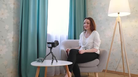vlogging : Fashion Blogger Filming Video On Camera At Home Stock Footage