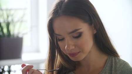 yummy face : Beautiful Woman Eating Fresh Berries Closeup Stock Footage