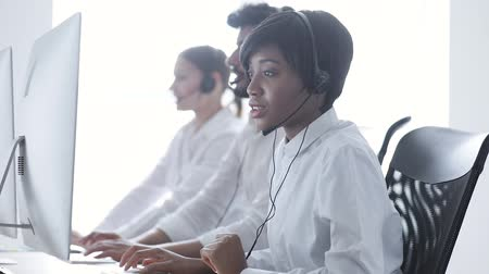 dispatcher : People Work At Contact Center. Woman In Headset Working At Customer Service. Operators At Workplace At Call Center