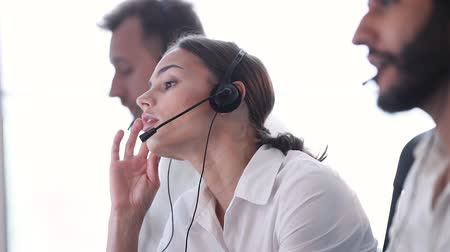 dispatcher : Contact Center. Woman Operator With Headache And Stress At Work