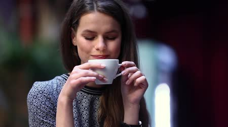 ital : Beautiful Woman Drinking Coffee At Cafe, Female With Cup Of Drink