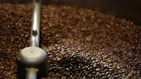 rosto : Coffee Production. Brown Beans Roasting In Machine Closeup