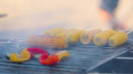 barbequing : Vegetarian Barbecue. Cooking Vegetables On Grill Closeup, Grilling Corn And Veggies