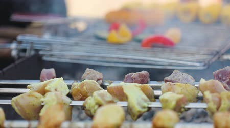 barbequing : Barbecue. Grilled Veggies With Meat On Skewers