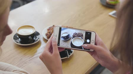 Woman Hands Taking Food Photo On Mobile Phone At Cafe Closeup