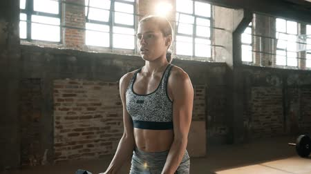 musculação : Fit woman doing arm exercise with weight on workout at gym. Portrait of fitness girl model in active wear doing dumbbell biceps curl exercising indoors