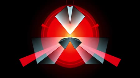 piramit : symmetrical mirrored geometric pattern formed from rotating grey and light blue colored 3d prisms with outline so it looks like vector grafic and Strobes and changing sizes red circles looks like bursting sun and its emitting with red beams so it looks li Stok Video