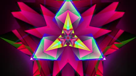 piramit : triangle hi-tech neon rainbow kaleidoscopic polygonal pattern consists of rotating 3d polygonal shapes with dominant pink, magenta and purple color as well as glowing light green laser rays on black background