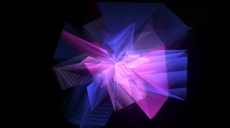 slashing : Slashing, rotating and twisting movement of translucent crystal sharp edges like blades has glint and changing color from blue to pink and purple on black background. Razor style hi-tech spicked motion graphics. Fast movements leave ghostly echo trails.