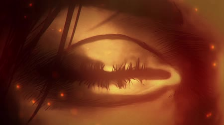 eye ball : cartoon woman eye watching on to big fire Stock Footage
