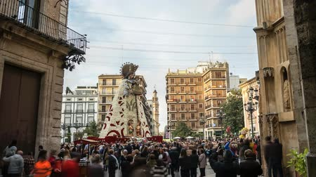 entire frame : Valencia after Oferring Flowers around Plaza de la Virgin. Traditional costumed parades . Las Fallas celebration in praise of Saint Joseph Stock Footage