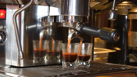 black coffee : Espresso Machine Brewing Coffee Stock Footage
