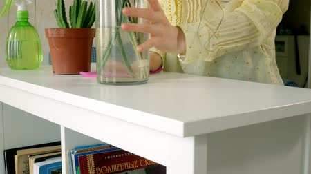 sanitize : Woman in gloves cleaning furniture with rag at home living room. Stock Footage