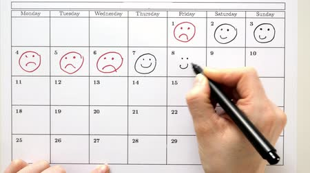 kleszcz : Sign the day in the calendar with a pen, draw a smile
