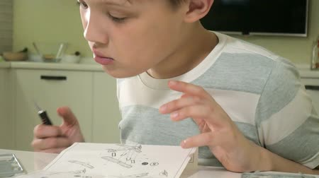 сделанный : The boy creates a plastic model airplane, an exact copy, from the designer Стоковые видеозаписи