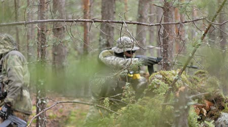 munição : Soldiers in camouflage with combat weapons are being fired in the shelter of the forest, the military concept