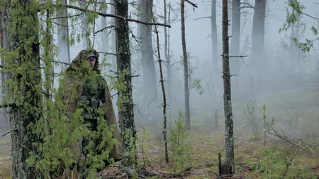conflito : Soldiers in camouflage with combat weapons make their way outside the forest, with the aim of capturing it, the military concept Stock Footage