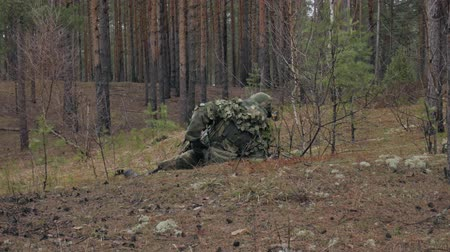 сила : Soldiers in camouflage with combat weapons are being fired in the shelter of the forest, the military concept