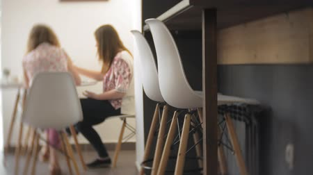 home studio : Two Young woman artist painting at home studio creative tools Stock Footage