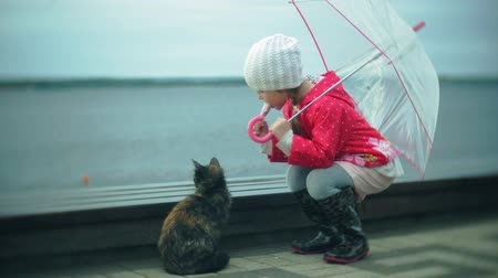raincoat : Little beautiful girl and cat with umbrella playing in the rain eating ice cream on the coast