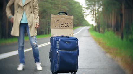 чемодан : Young beautiful woman hitchhiking standing on the road with a suitcase on a table with an inscription SEA