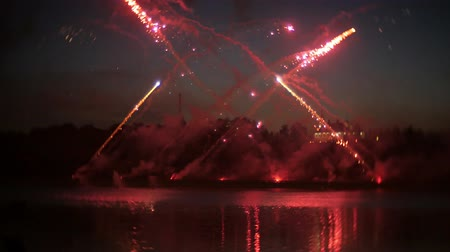 fireworks : beautiful fireworks show in the night sky Stock Footage