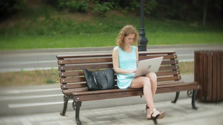 benches : A woman sitting on a bench on the beach using a laptop Stock Footage